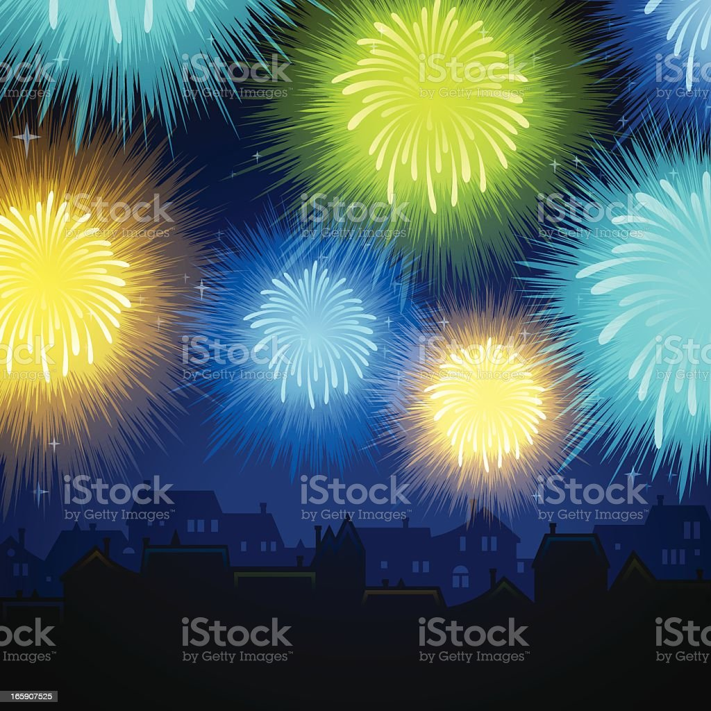 Community Fireworks royalty-free stock vector art