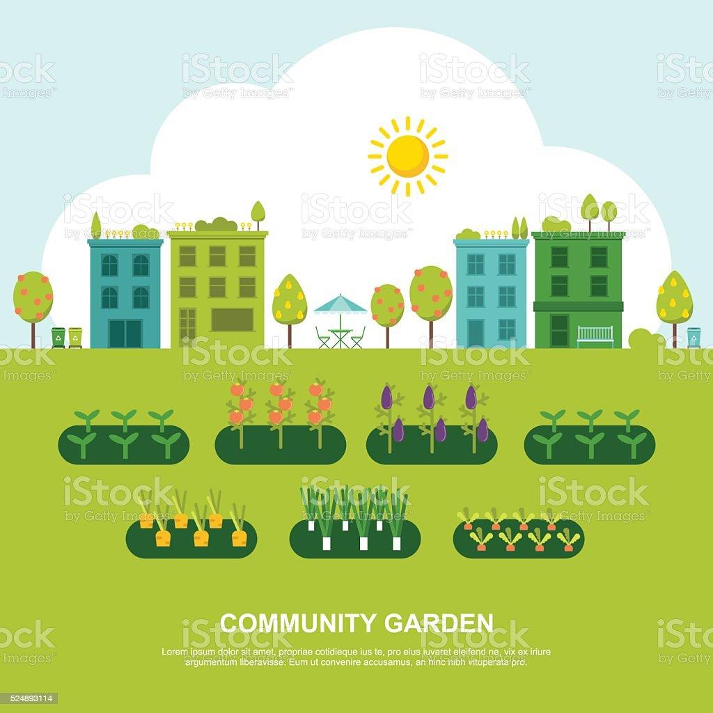 Community Fruit and Vegetable Garden vector art illustration