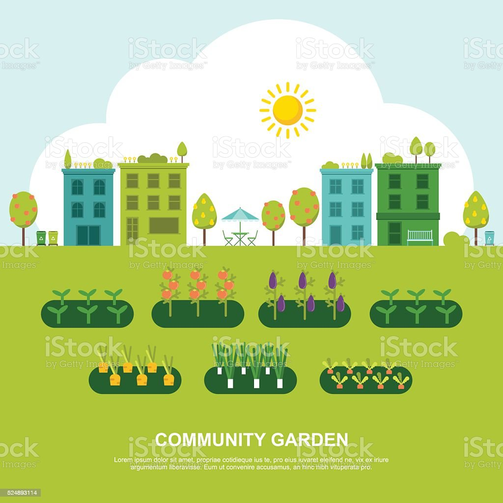 Community Fruit and Vegetable Garden vector art illustration