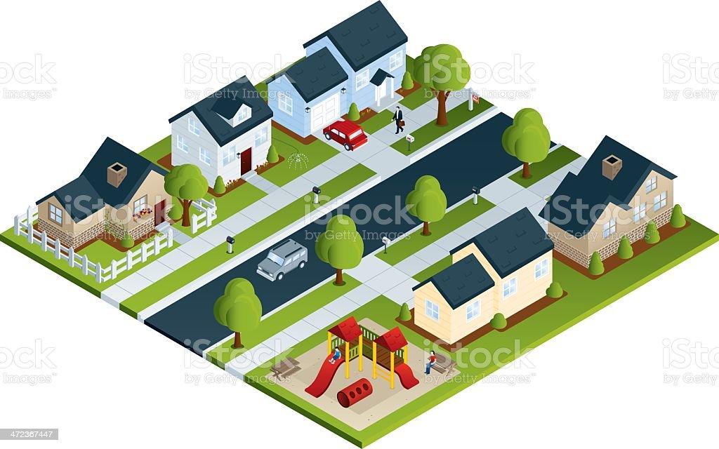 Community Neighborhood vector art illustration