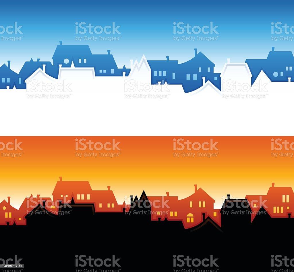 Community Skyline Backgrounds vector art illustration