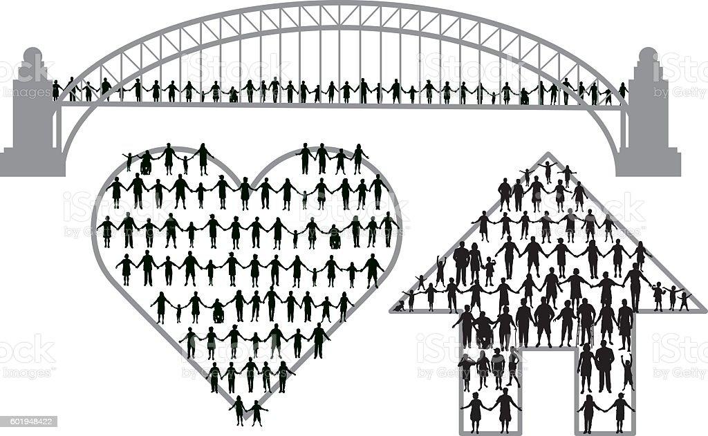 Community Teamwork Concepts - Holding Hands, Relationships, Unified vector art illustration