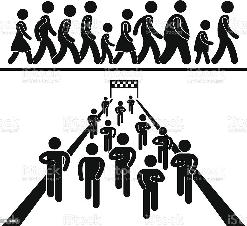 Community Walk and Run Pictogram vector art illustration