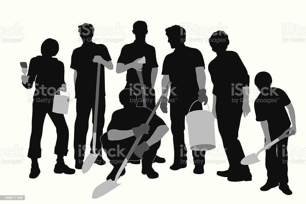 Community Work Vector Silhouette royalty-free stock vector art