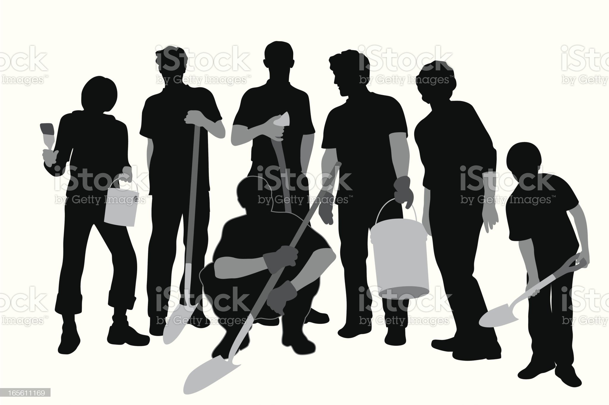 Community Work Vector Silhouette royalty-free stock vector art