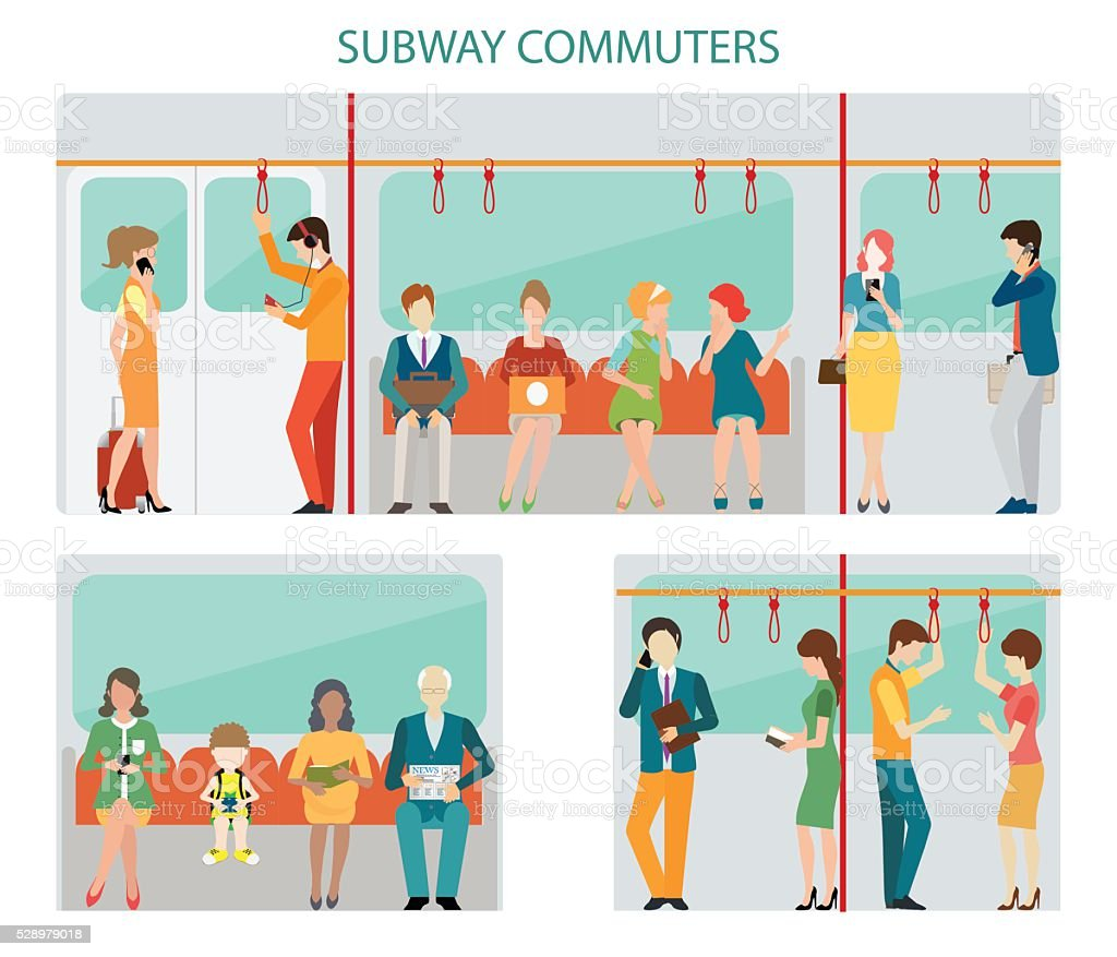 Commuters subway design. vector art illustration