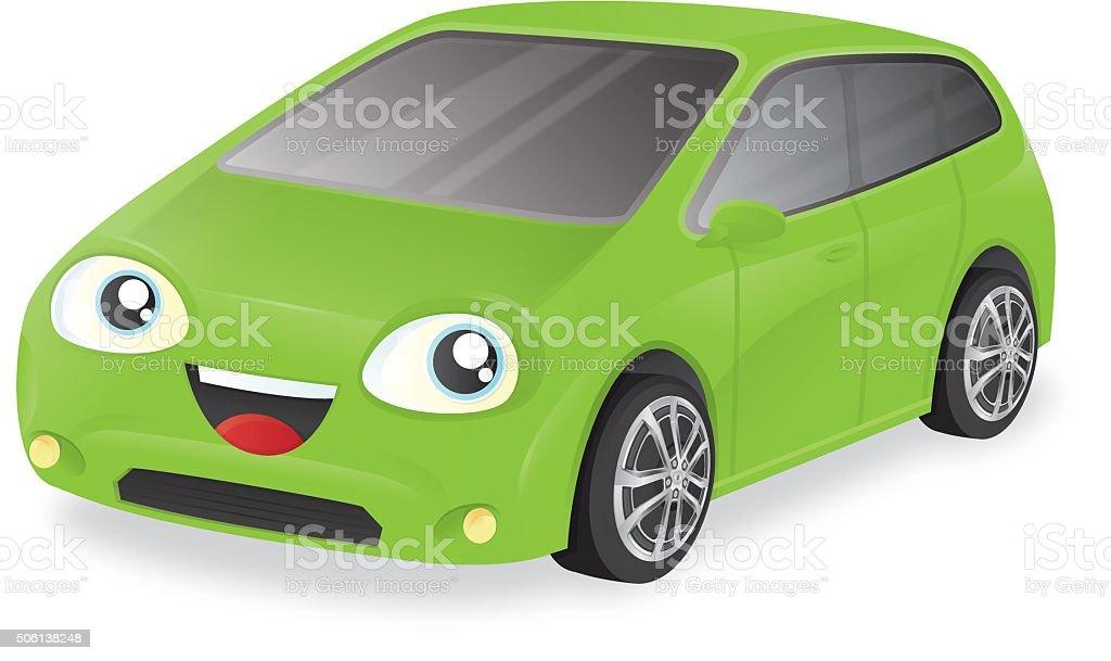 Compact Car cartoon character vector art illustration