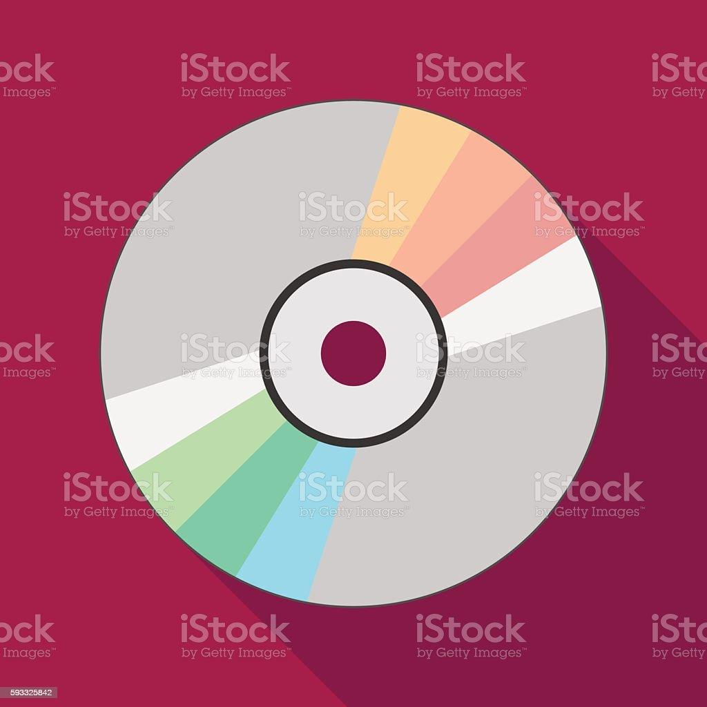 compact disc icon with long shadow. flat style illustration vector art illustration