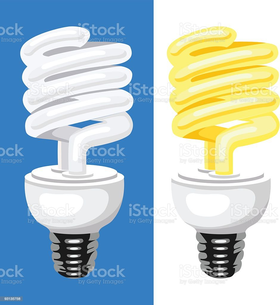 CFL - Compact Flouorescent Lamp Lightbulb Set of Two Illustration royalty-free stock vector art