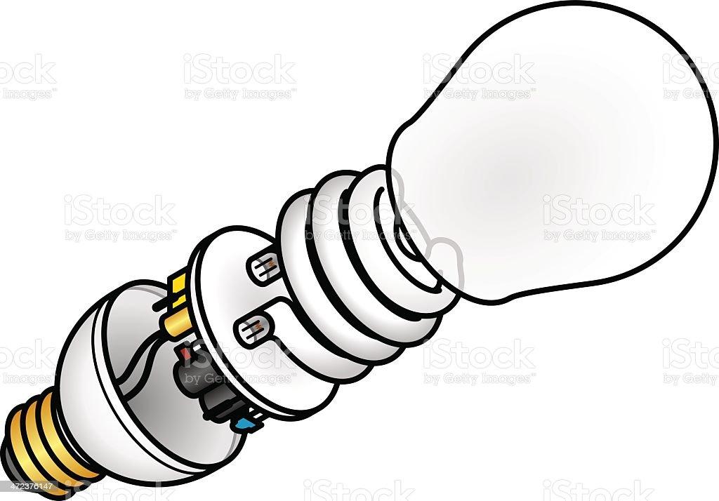 Compact Fluorescent Bulb vector art illustration