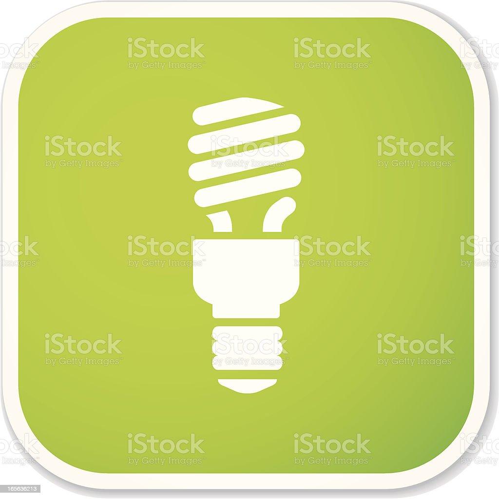 compact fluorescent light bulb sq sticker vector art illustration