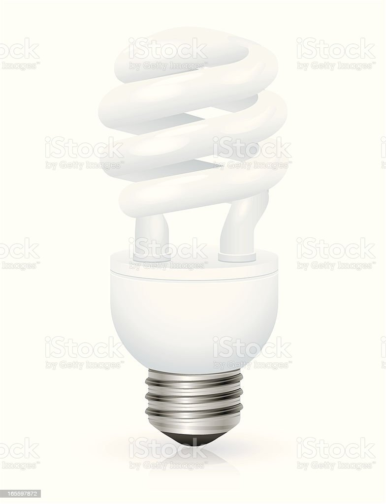 Compact Fluorescent Light Bulb Standing Vertically vector art illustration