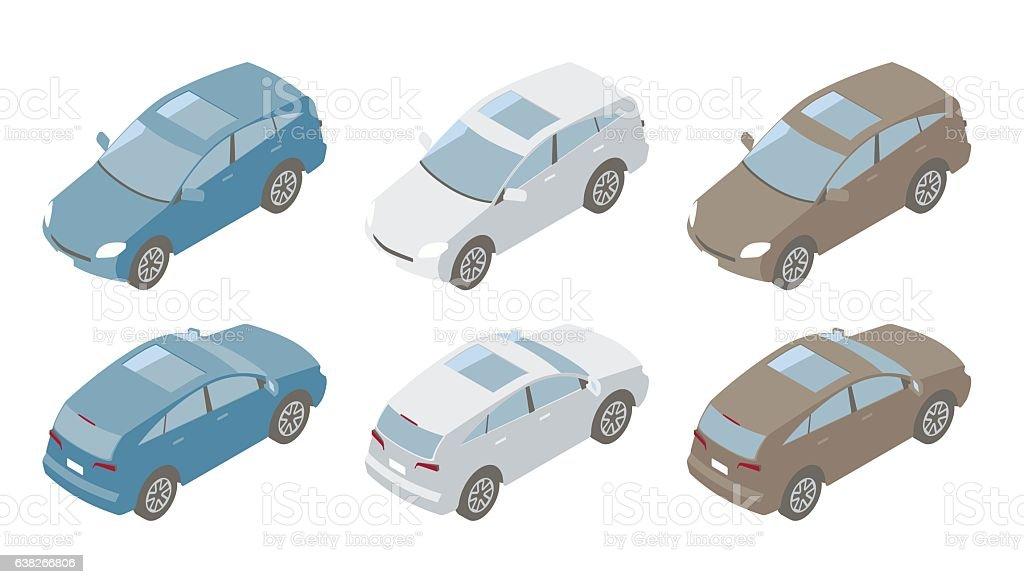 Compact SUVs Isometric Illustration vector art illustration