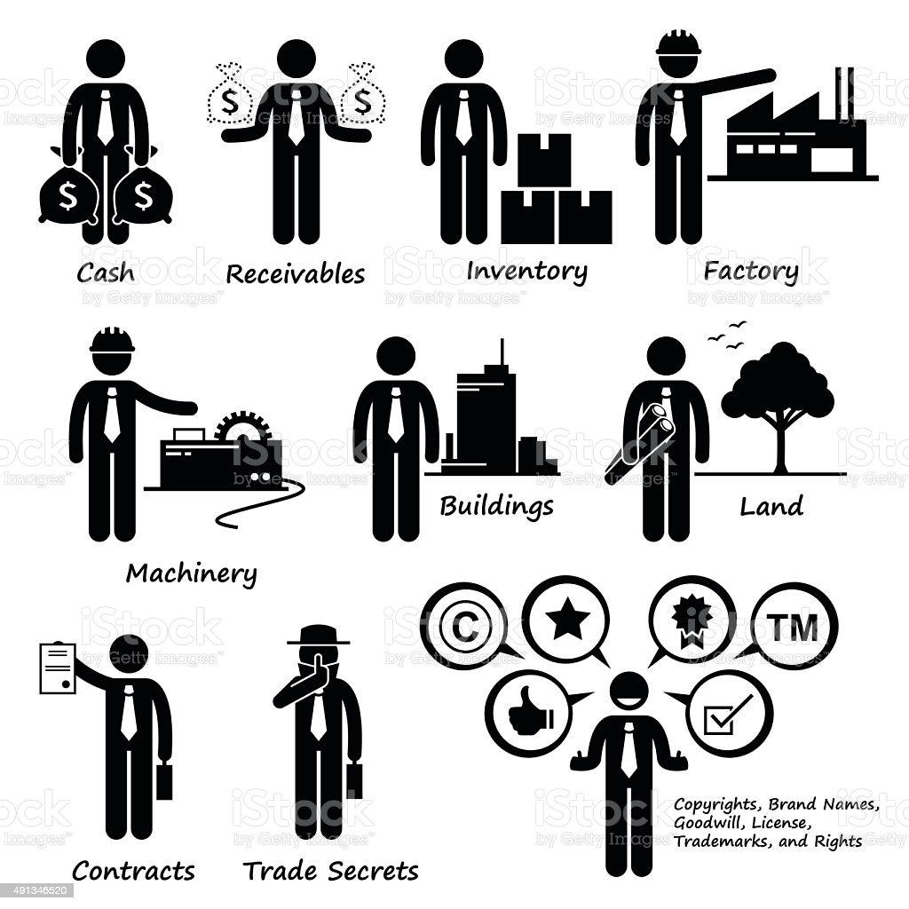 Company Business Assets Pictogram vector art illustration