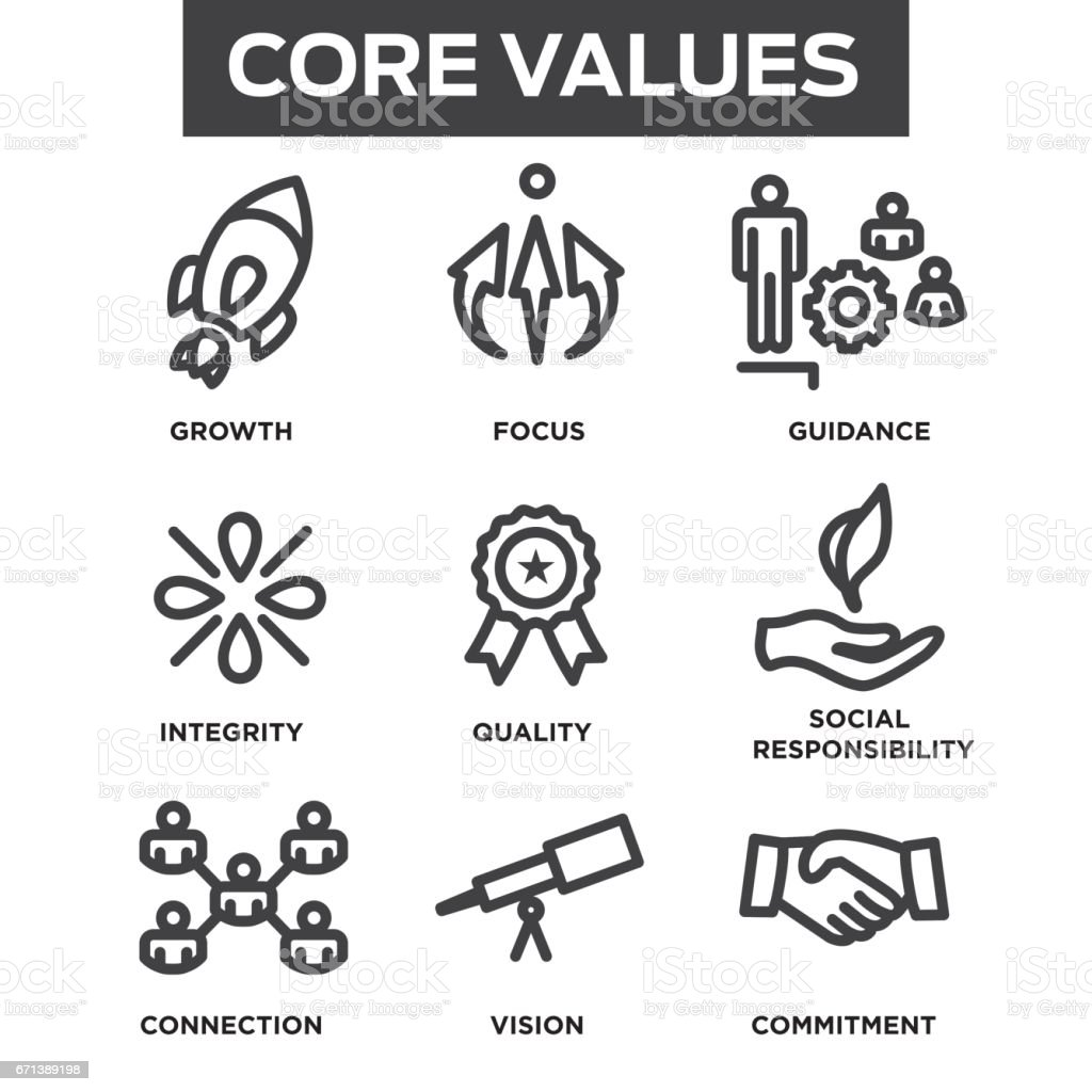 Company Core Values Outline Icons for Websites or Infographics vector art illustration