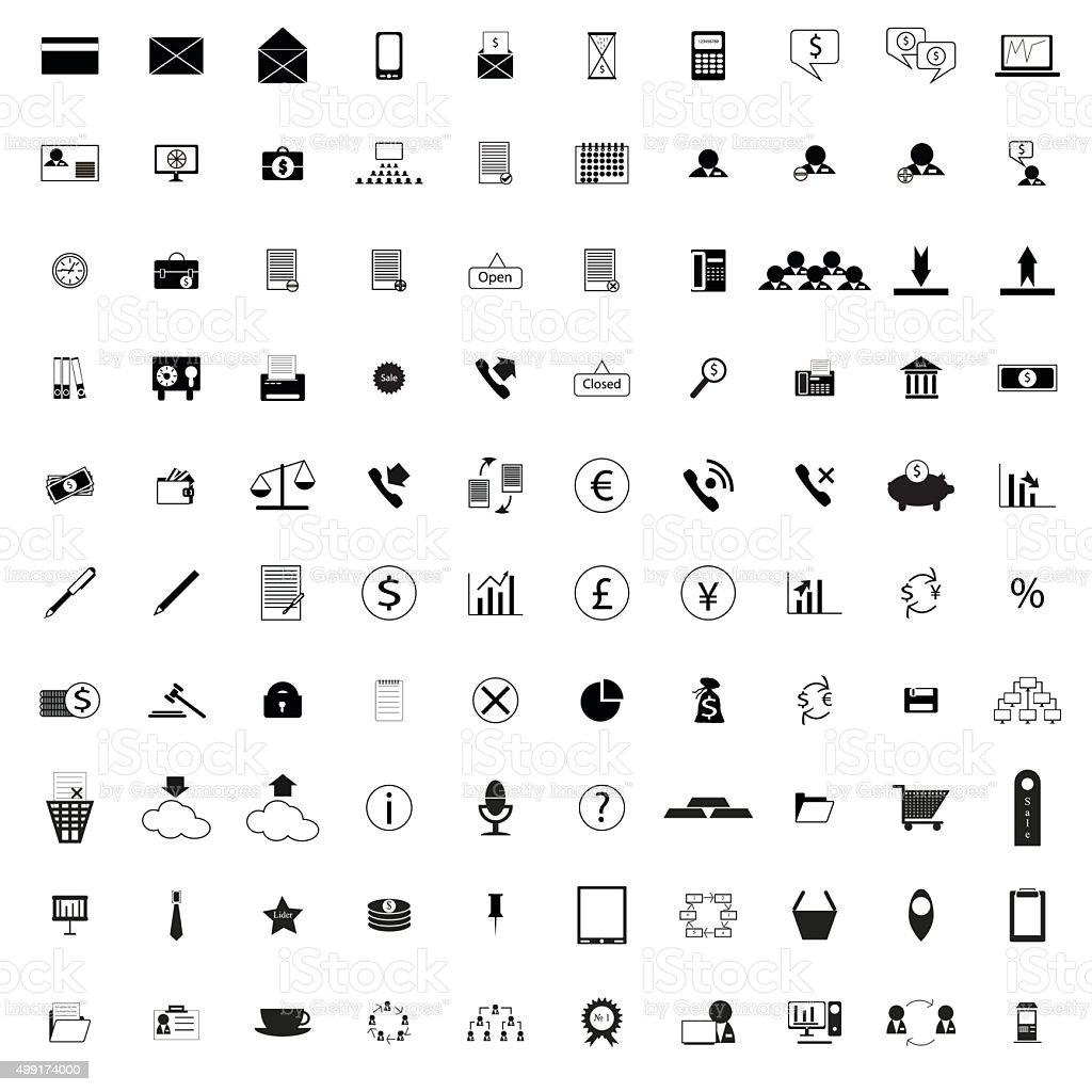 100 company icons vector art illustration