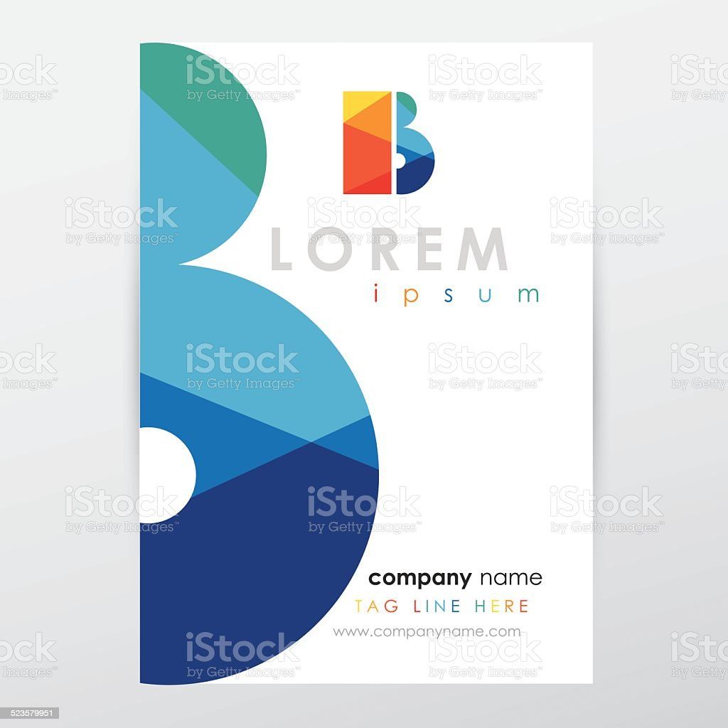 company letterhead stationery template with multicolored letter b vector art illustration