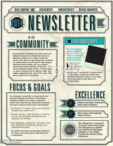 Company Newsletter Design Layout Flyer Template Stock Vector Art