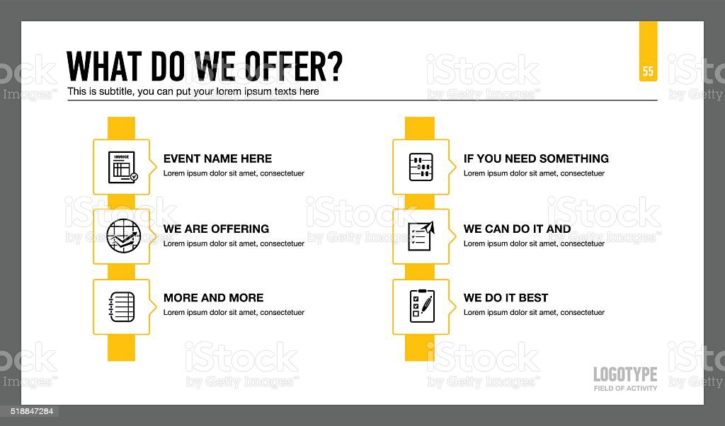 Company Services Presentation Slide vector art illustration