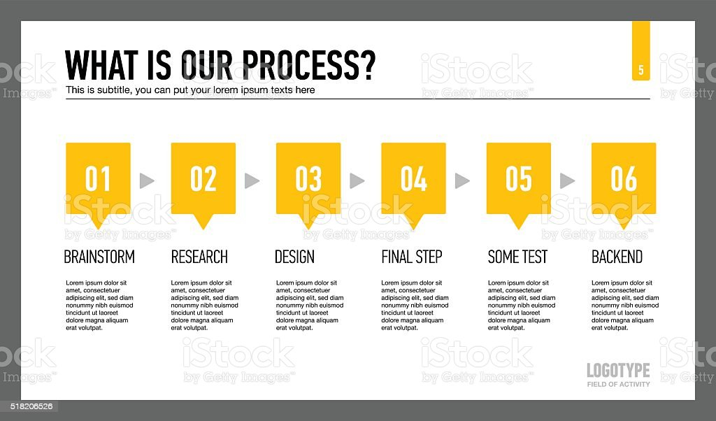 Company work process slide vector art illustration