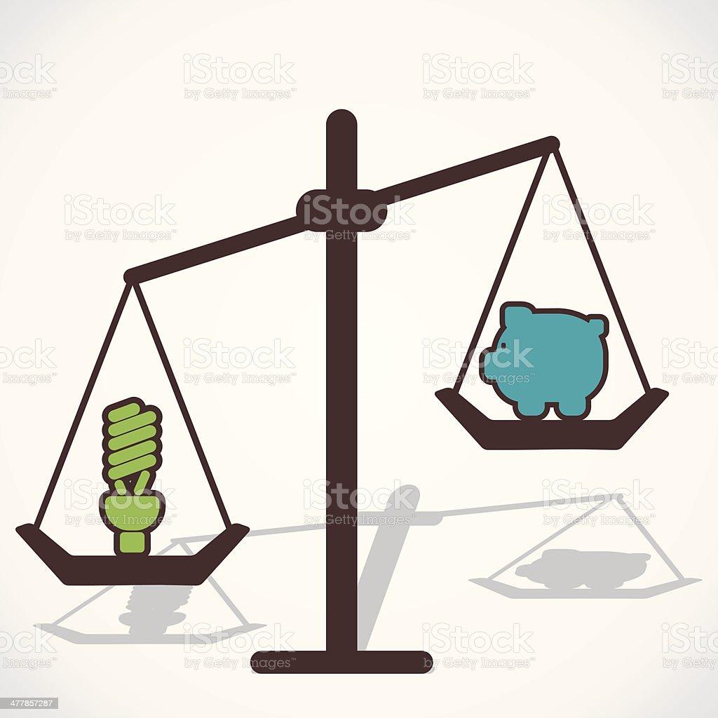 compare bulb and piggy bank vector art illustration