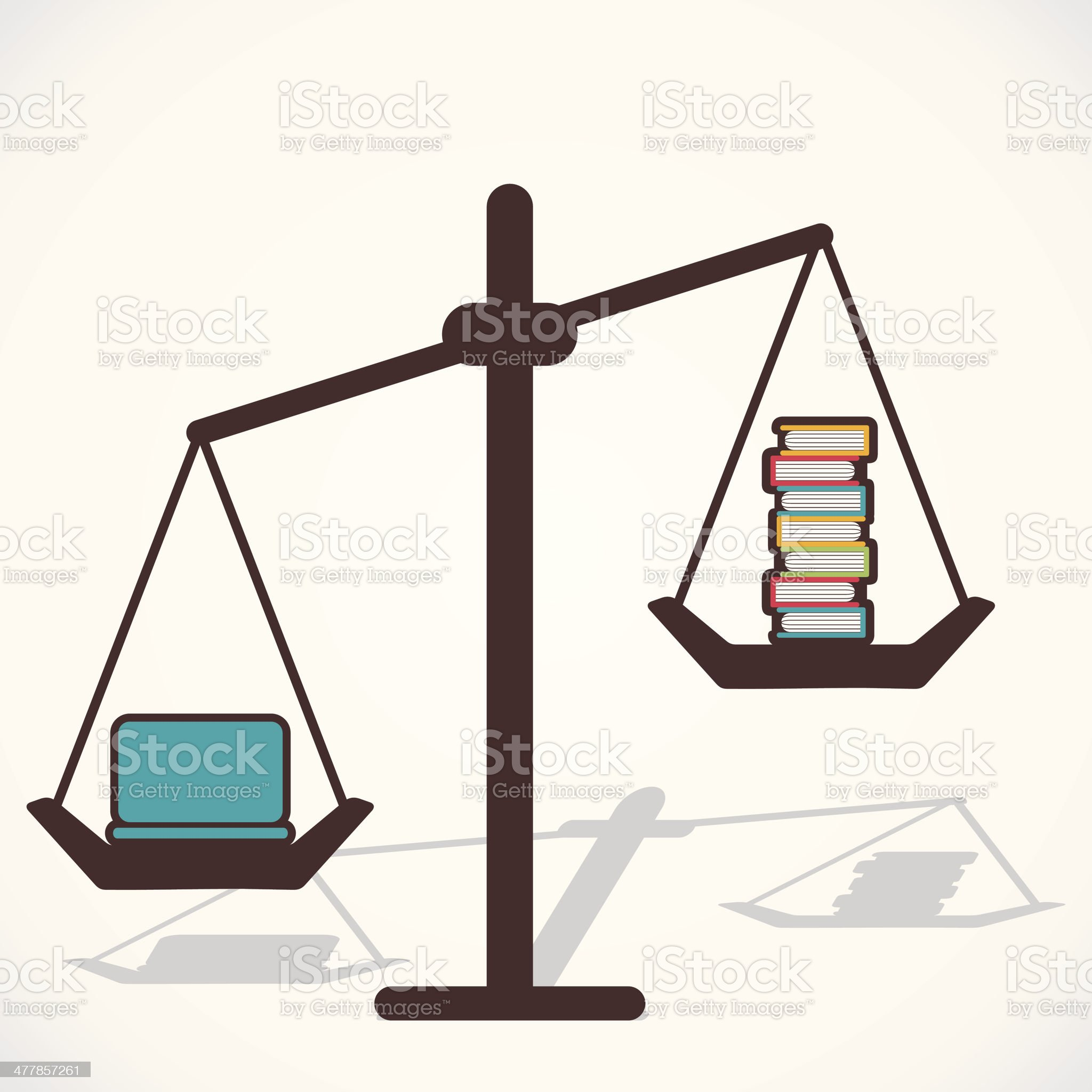compare laptop and book royalty-free stock vector art