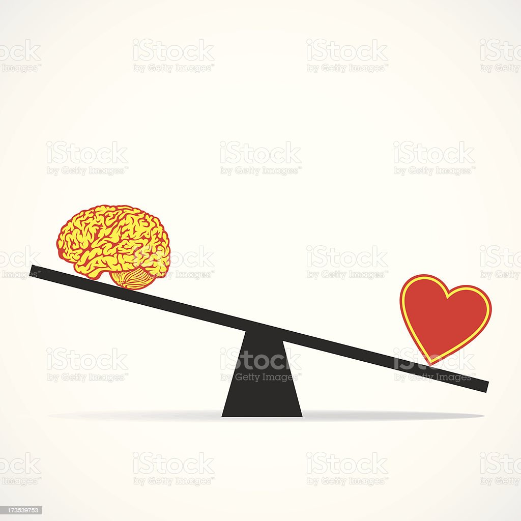 Compare mind with heart vector art illustration
