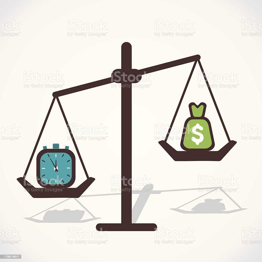 compare time and money royalty-free stock vector art