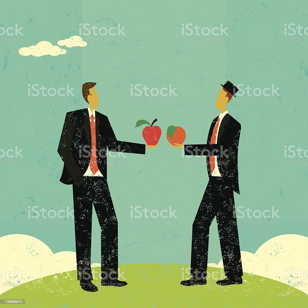 Comparing apples and oranges royalty-free stock vector art