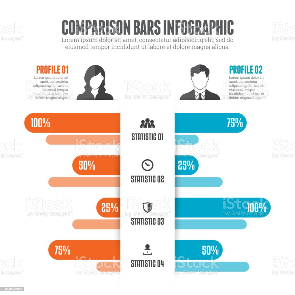 Comparison Bars Infographic vector art illustration