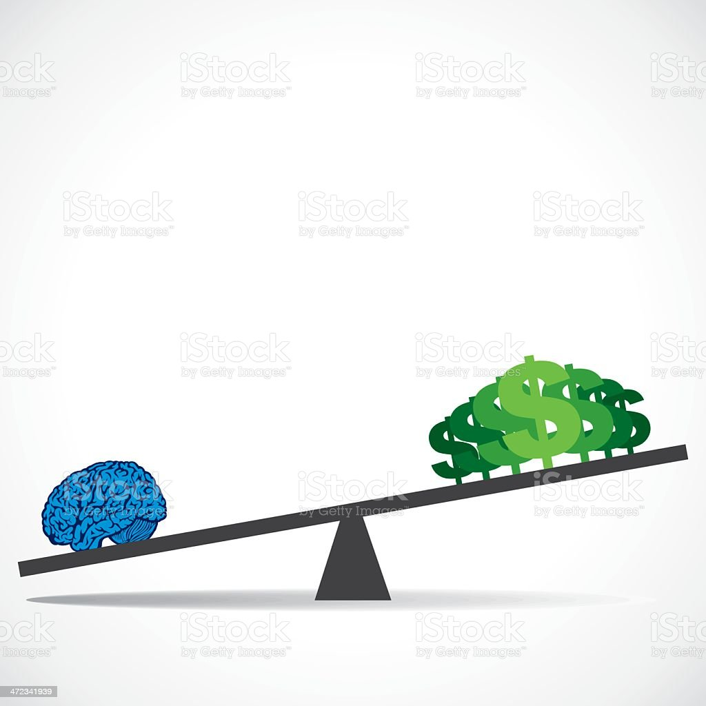 comparison brain and money royalty-free stock vector art