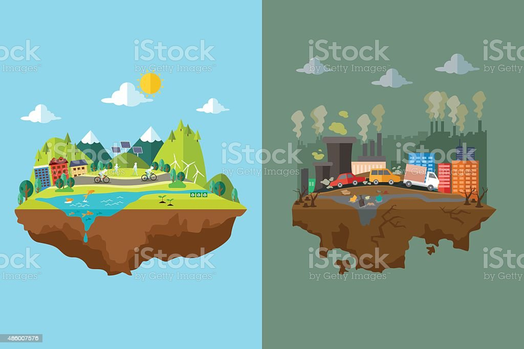 Comparison of Clean City and Polluted City vector art illustration