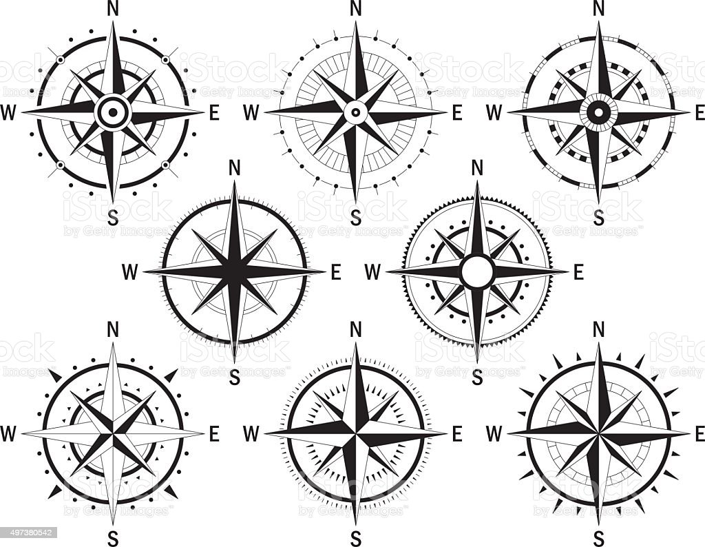 Compas set white vector art illustration