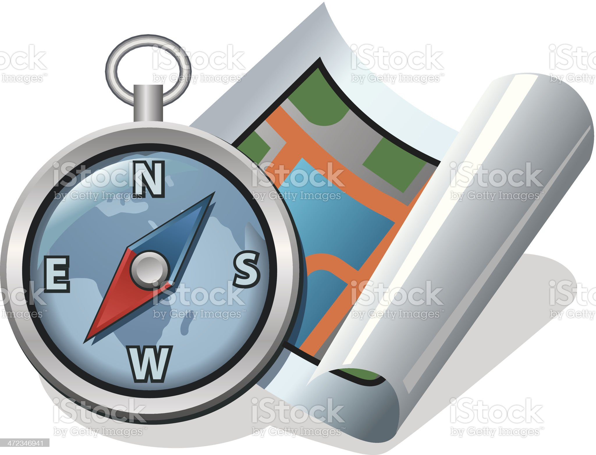 compass and map royalty-free stock vector art