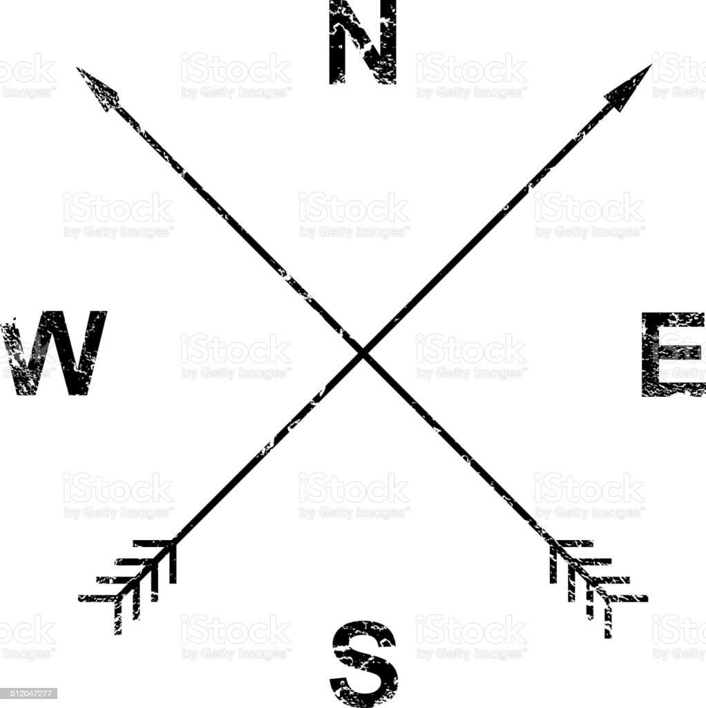 Compass, arrows, grunge design vector art illustration