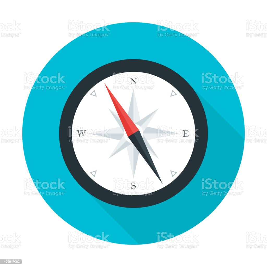 Compass flat circle icon with long shadow vector art illustration