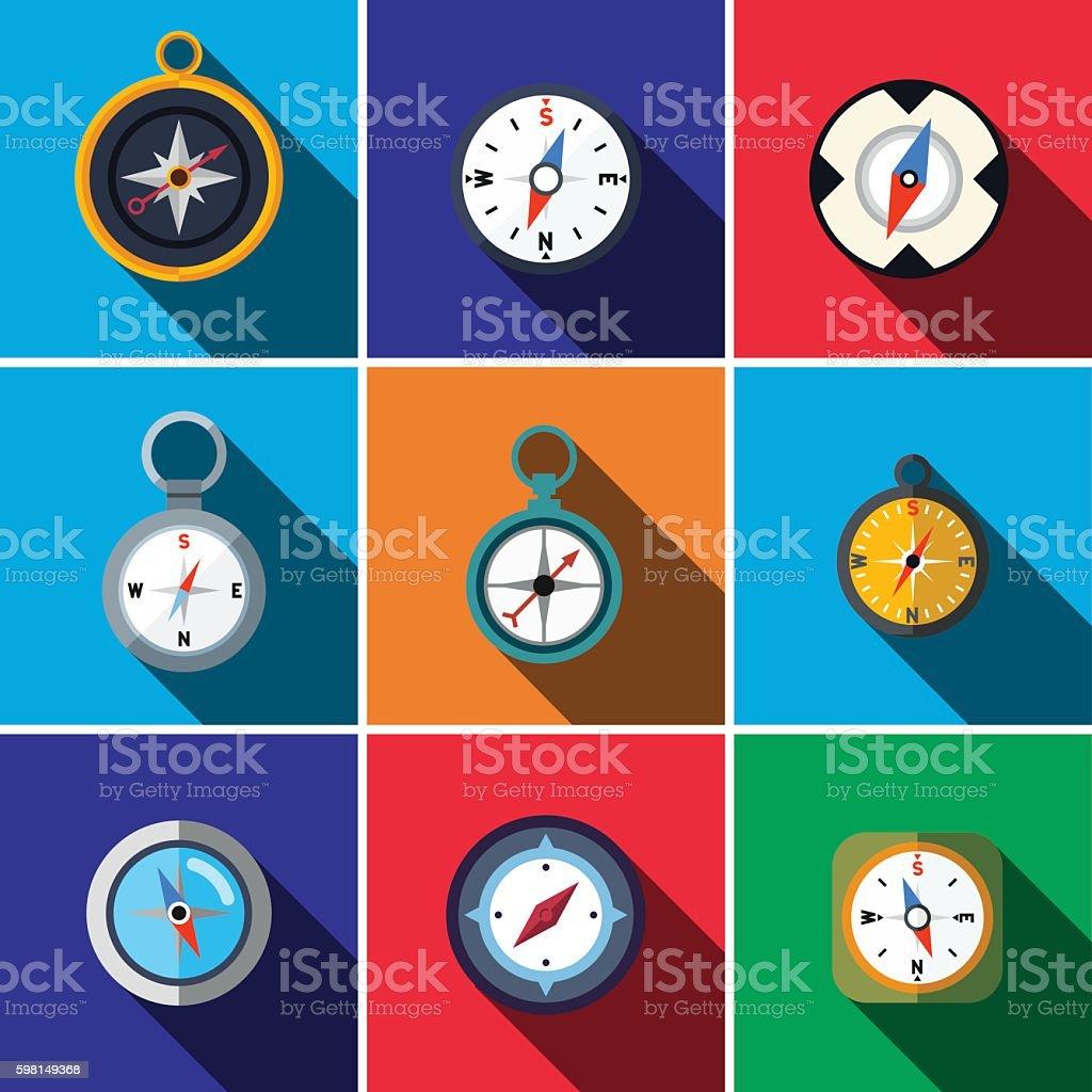 Compass flat icon set vector art illustration
