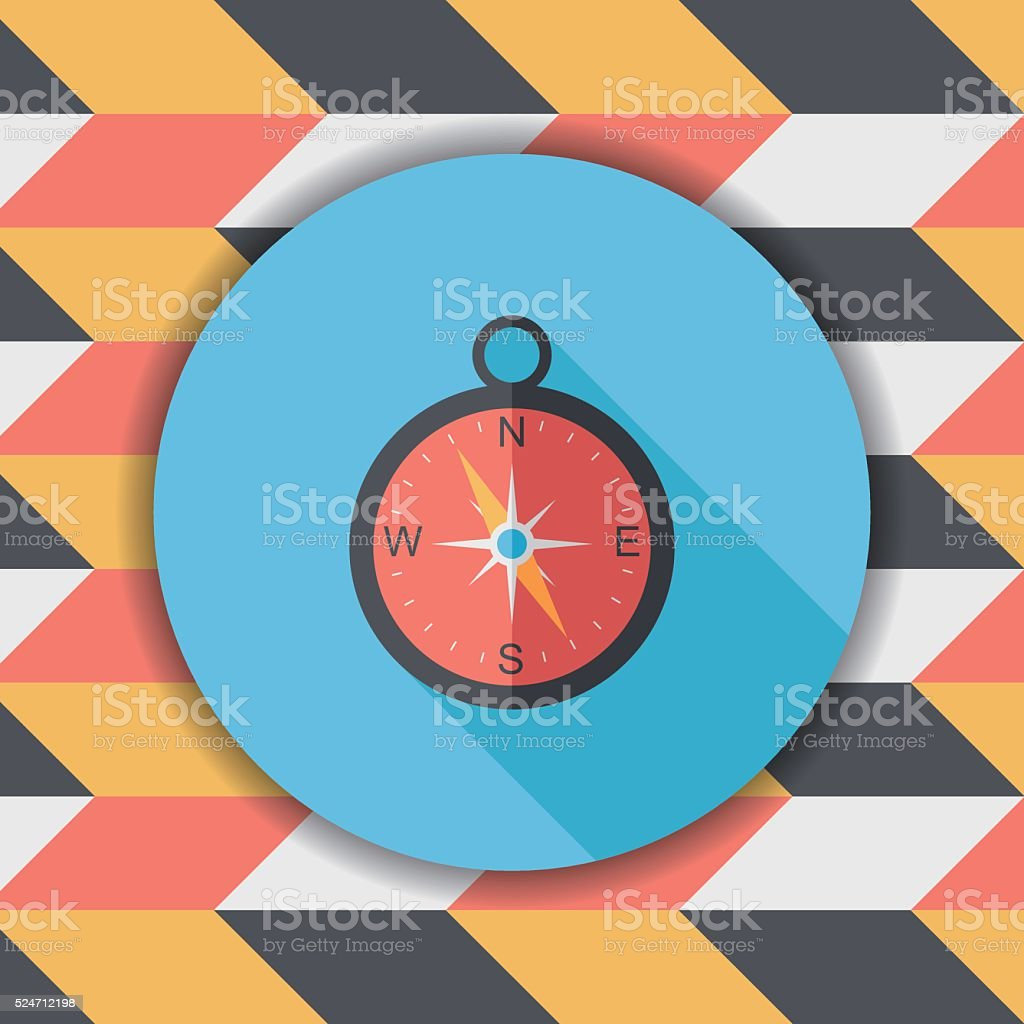 compass flat icon with long shadow,eps10 vector art illustration