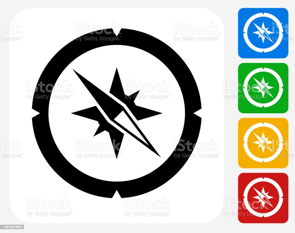 Compass Icon Flat Graphic Design vector art illustration