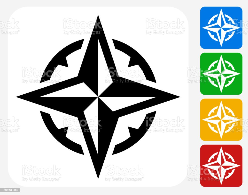 Compass Icon Flat Graphic Design vector art illustration