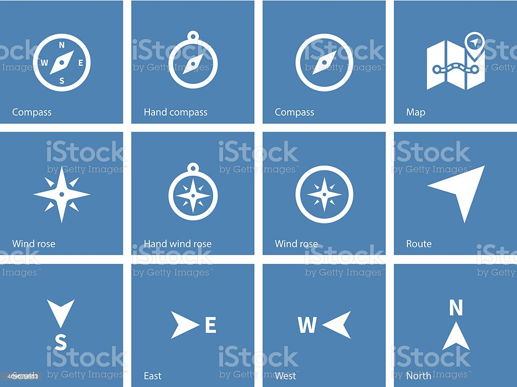 Compass icons on blue background. vector art illustration