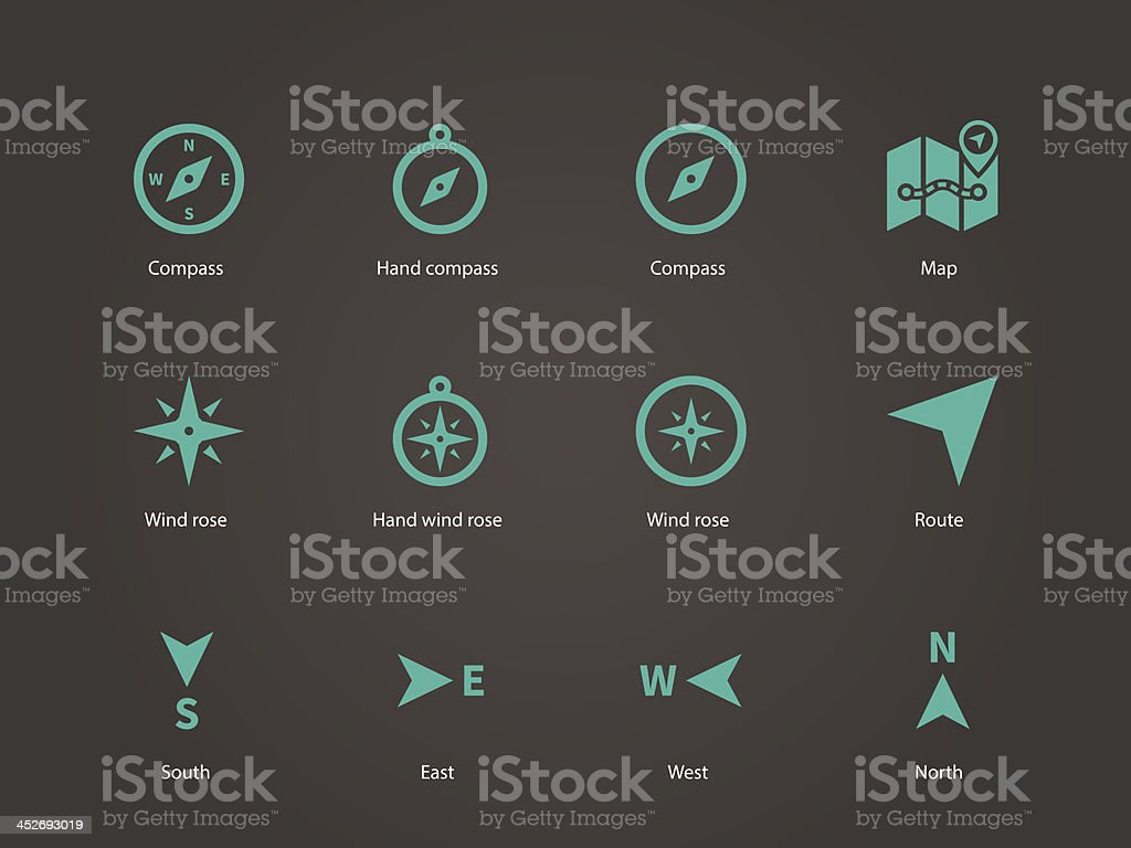 Compass icons. vector art illustration
