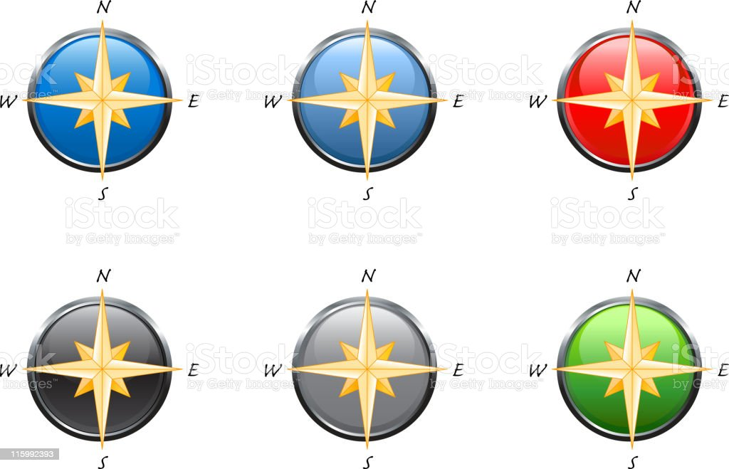Compass in 6 colors royalty-free stock vector art