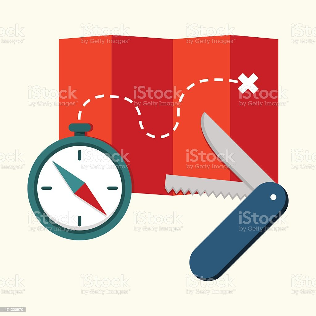 Compass, map with path and penknife vector art illustration
