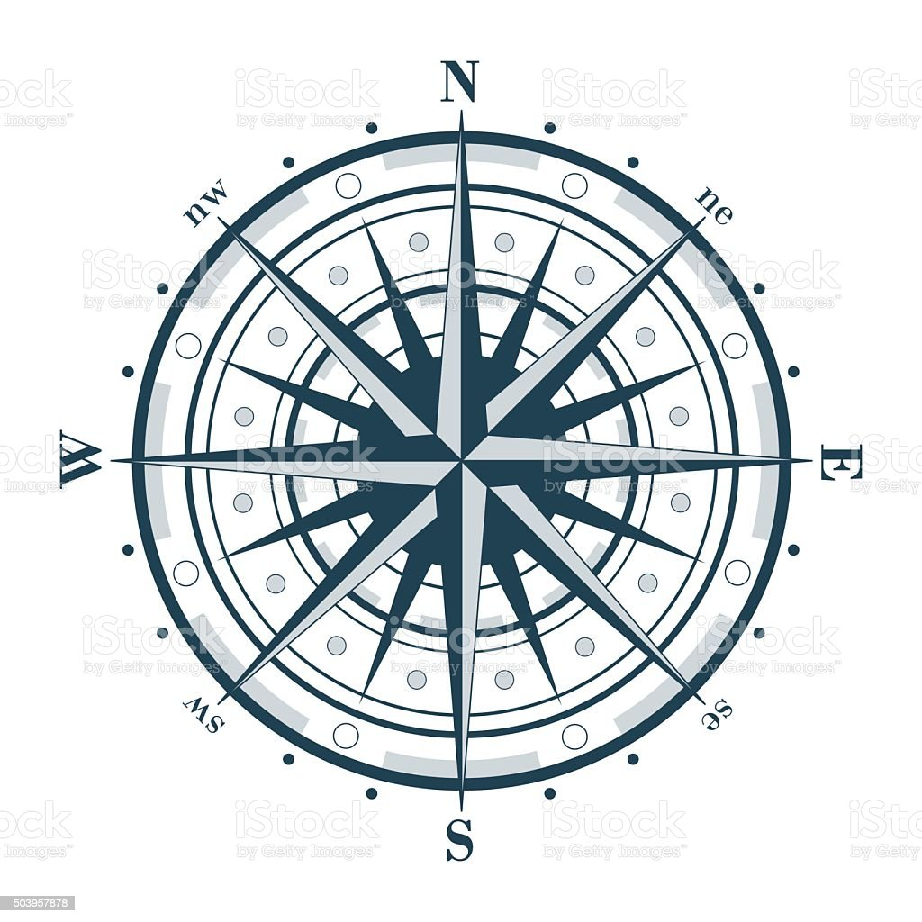 Compass rose isolated on white vector art illustration
