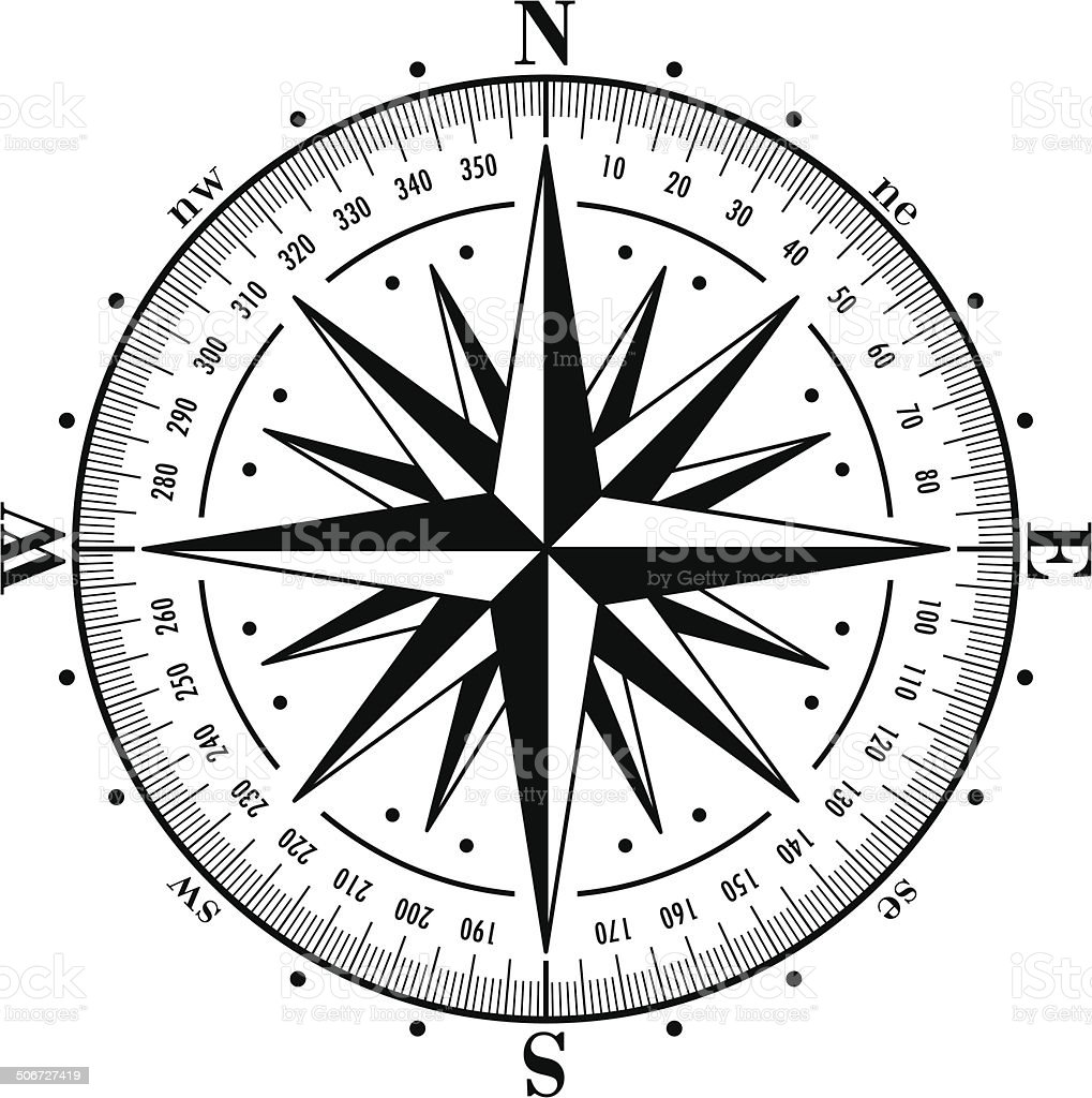 Compass rose isolated on white. Vector illustration. vector art illustration