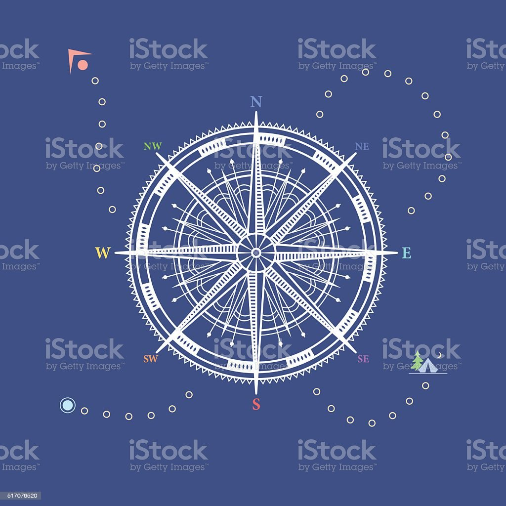 Compass Rose, Line Style Design vector art illustration