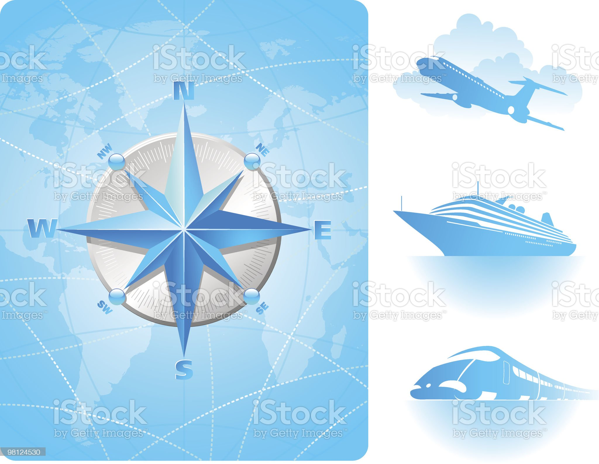 Compass rose on a world map background and contemporary transport royalty-free stock vector art