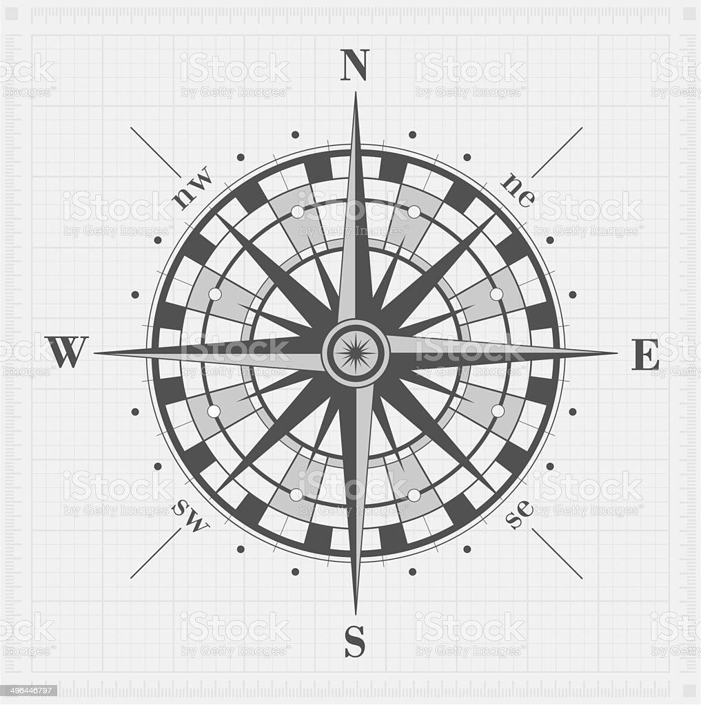 Compass rose over grid. Vector illustration. vector art illustration