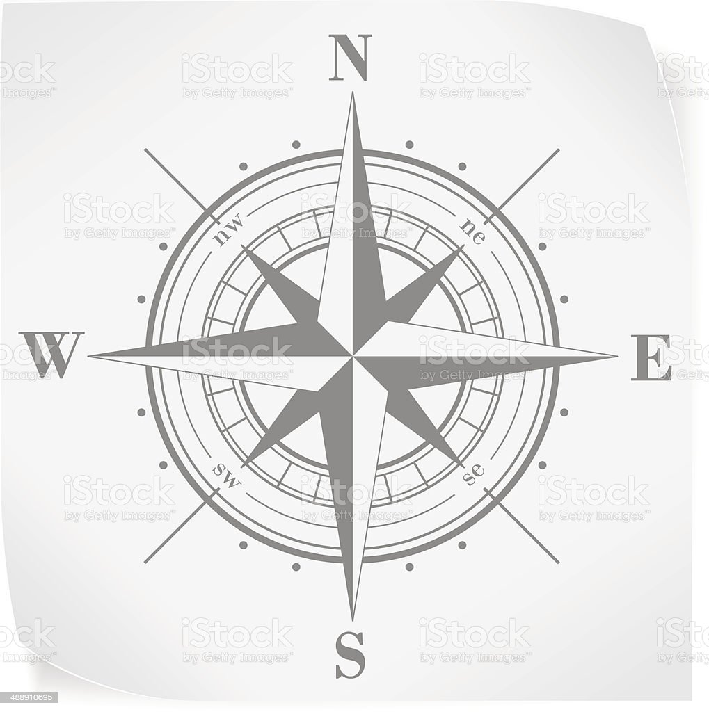 Compass rose over white paper sticker isolated on white vector art illustration